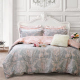 Blush Pink Girls Bedding Set 100% Cotton Damask Floral Bedding Zipper Duvet Cover Set Twin Size