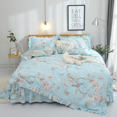 Floral Bedding Shabby Blue Bird Print French Countryside Chic Bedding Set Luxury Bedskirt