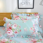 Farmhouse Shabby Pink Floral Chic Bedding Set Rose Floral Bedskirt Set