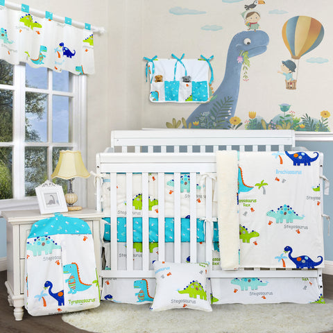 Baby Boys Dinosaur Crib Nursery Bedding Sets 100% Cotton Blue White Cradle Set