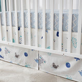 Ocean animal crib bedding set white blue fish summer nursery bedding, 100% cotton