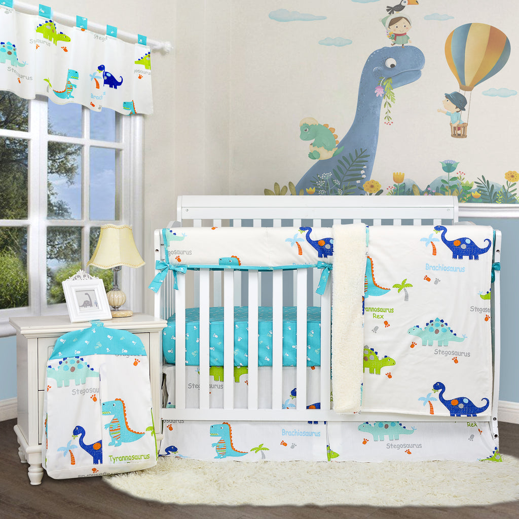 Baby Boys Dinosaur Crib Nursery Bedding Sets 100 Cotton Blue White Cr Insdeal