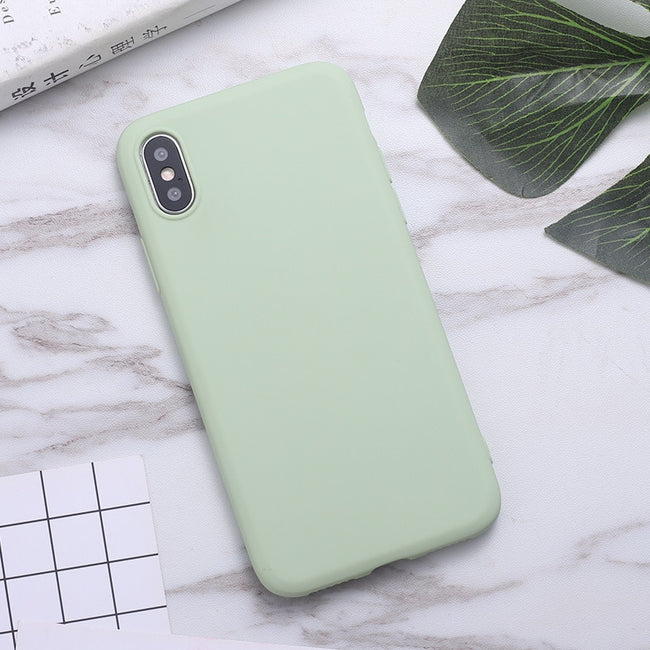 ERILLES Silicone Solid Color Case for iPhone 11 7 8 Plus Soft Cover candy Phone Cases for iPhone XS 11 Pro MAX XR X XS Max