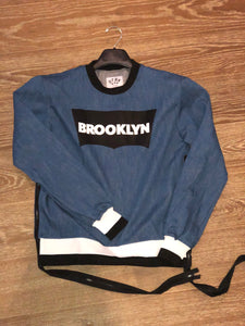 Denim Brooklyn sweatshirt with long zipper