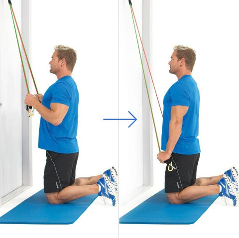 Tricep Workout - Kneeling Triceps Extension With Bands - Haryzona