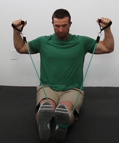 Back exercises with resistance bands - Seated Wide Rows