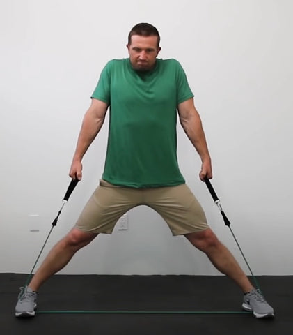 Back exercises with resistance bands - Wide Stance Shrugs