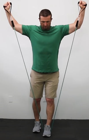 Back exercises with resistance bands - Y Raise