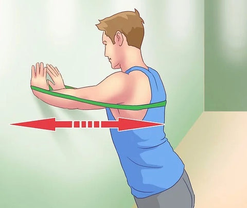 push-ups against a wall - resistance band - Haryzona