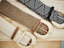 Load image into Gallery viewer, Multi-Coloured Weave Belt w Rattan Buckles