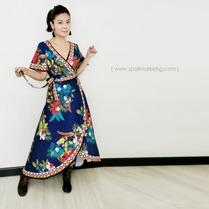 Boho Wrap Flower Dress (Blue)