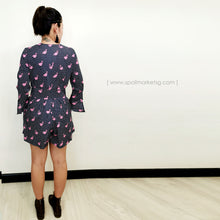 Load image into Gallery viewer, Flamingo Print Navy Romper