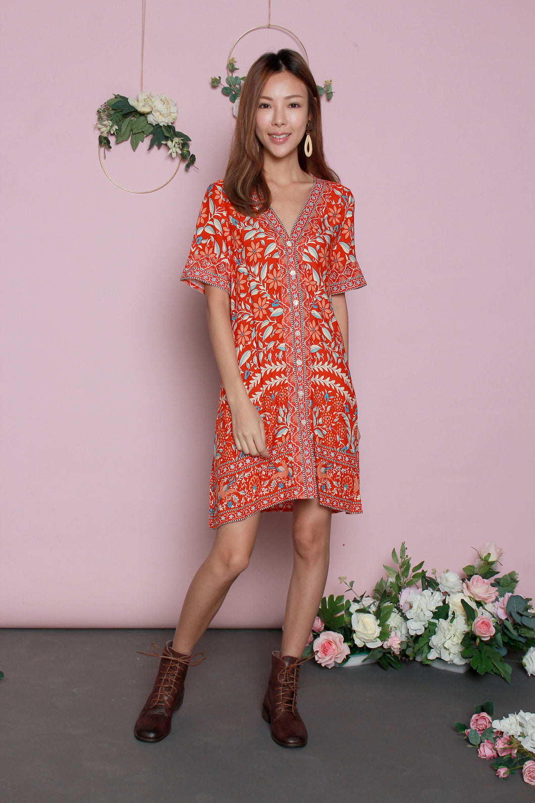 Peranakan T-shirt Dress (Orange/White)