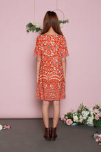 Load image into Gallery viewer, Peranakan T-shirt Dress (Orange/White)