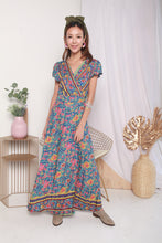 Load image into Gallery viewer, Boho Wrap Maxi Dress (Blue)