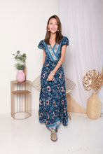 Load image into Gallery viewer, Boho Wrap Maxi Dress (Dark Blue)