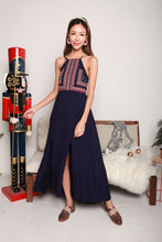 Load image into Gallery viewer, Tribal Art Navy Long Dress