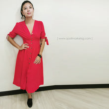 Load image into Gallery viewer, Red Linen Midi Dress