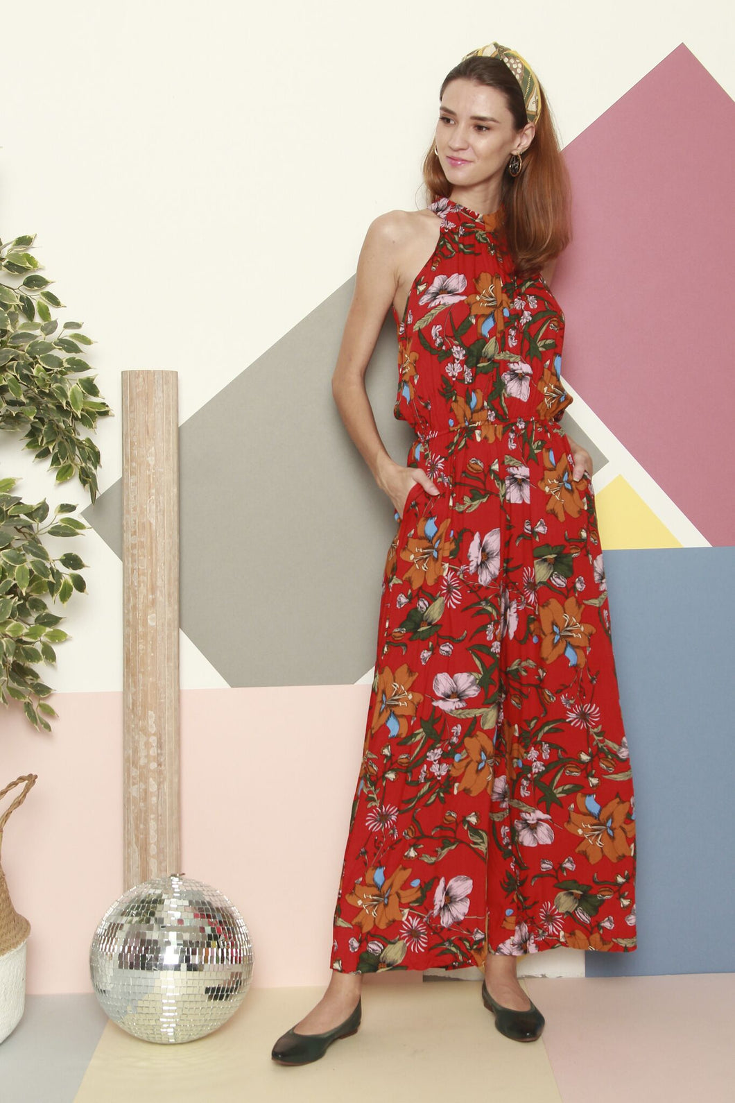 Red Flowery Jumpsuit