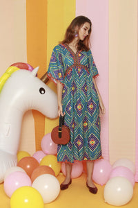 Aztec Baby Doll Midi Dress