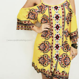 Off Shoulder Yellow Short Dress