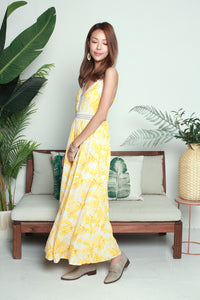 Yellow Leaves Long Dress