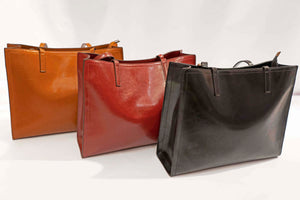 Leather Structured Tote Bag