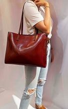 Load image into Gallery viewer, Leather Structured Tote Bag