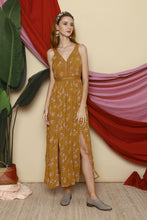 Load image into Gallery viewer, Mini Flowers Mustard Long Dress