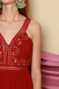 Red Aztec Embroidery Dress