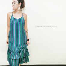 Load image into Gallery viewer, Stripe Print Green Midi Dress