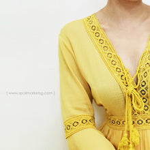 Load image into Gallery viewer, Bohemian Yellow Short Dress