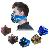 cold weather anti-smog antipollution cyclist rider riding breathing cycling face blue air custom mask