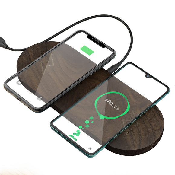 2020 New Arrivals 10W Fast Charger Wireless 2 in 1 Wireless Charger natural wood For Mobile Phones