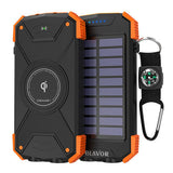Fashion Outdoor 10000mAh Wireless Power Bank Solar Charger 2 in 1 Emergency Dual Flashlight Waterproof Battery with Compass