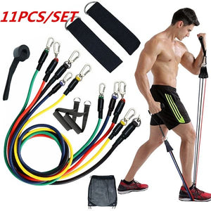 Fitness resistance bands——11piece set (100-pound-force combination)