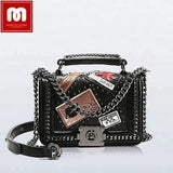 Ladies leather handbag chain bag
