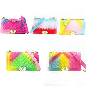 New fashion jelly handbag silicone ladies jelly handbag crossbody bag chain shoulder bags