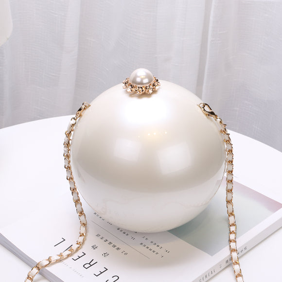 2020 fashion dinner evening bag round pearl Birthday bag
