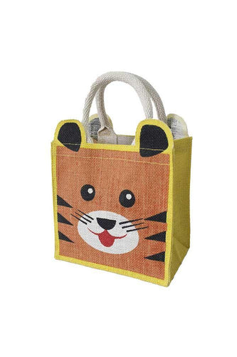 Tiger Face Printed Lunch/Gift Jute Bag