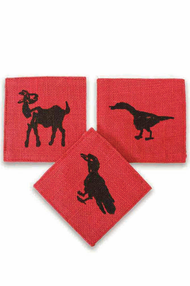 Printed Jute Coasters/Cup Mats (Set of 4)