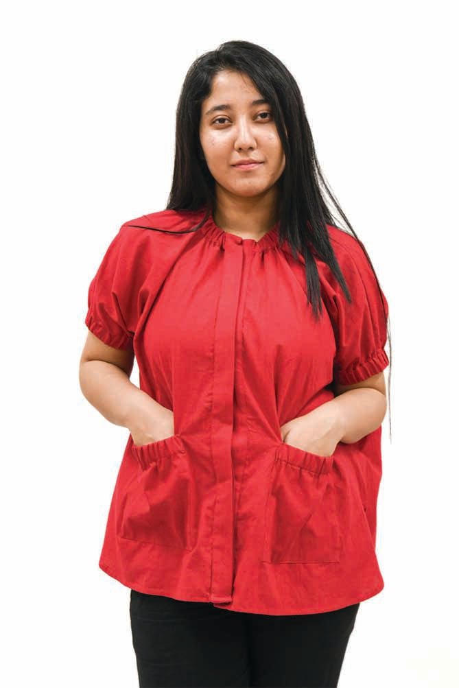Red Puckered Pocket and Collar Shirt