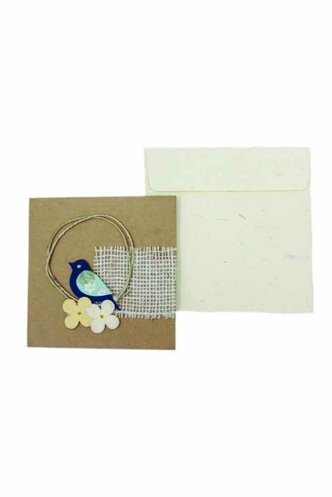 Handmade Christmas Gift Card - Bird's Nest (Pack of 2)