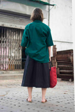 Load image into Gallery viewer, Black Linen Skirt - Folk