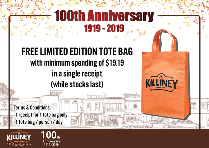 Killiney's 100th Anniversary Celebration – FREE Tote Bag Redemption