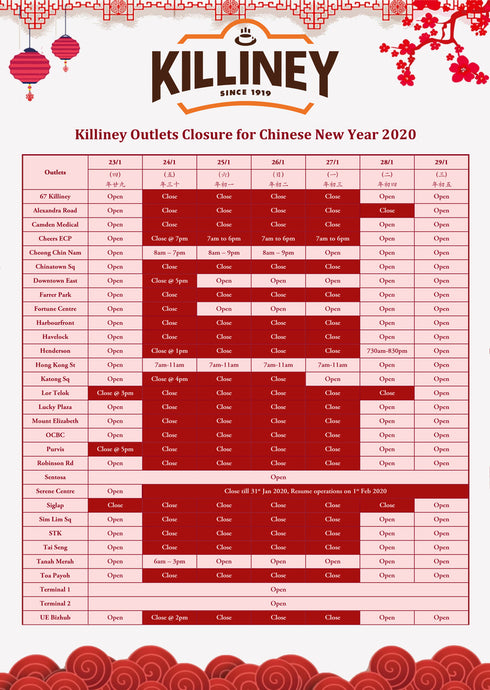 Killiney Outlets Closure for CNY 2020