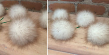 Load image into Gallery viewer, Toasted Marshmallow Faux Fur Pom Pom Christmas Tree Ornaments, Set of 6