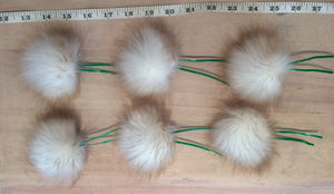 Toasted Marshmallow Faux Fur Pom Pom Christmas Tree Ornaments, Set of 6