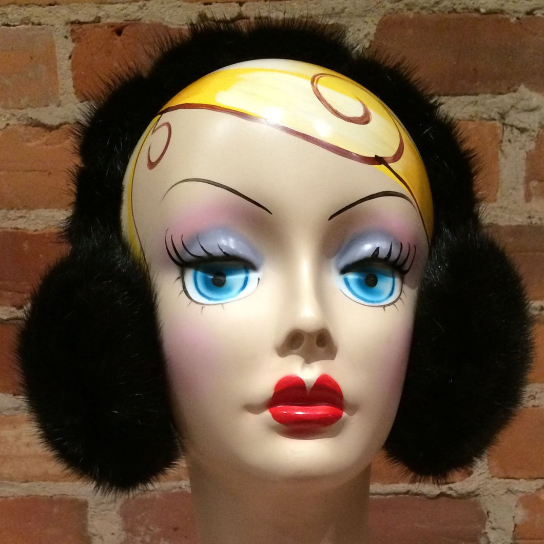 Black Mink Wraparound Full Fur Headband Earmuffs