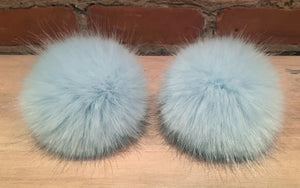 Robin's Egg Blue Mink Faux Fur Pom Pom for Your or Baby's Knit Hat, 3.5-Inch Detachable